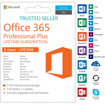 Microsoft Office Professional 2016 Office 365 Full Version Account For 5 Devices