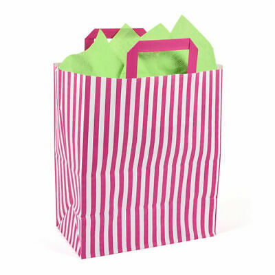 250 x 140 x 300mm Pink Striped Paper Carrier - Pack of 10