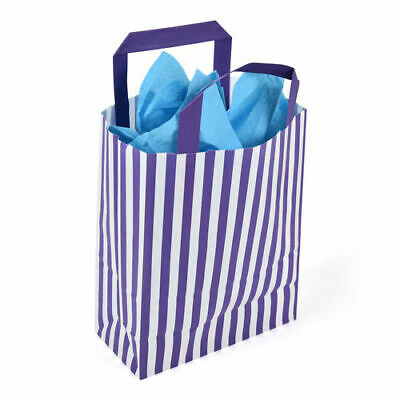 180 x 80 x 230mm Purple Striped Paper Carrier - Pack of 10