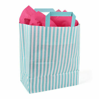 250 x 40 x 300mm Aqua Striped Paper Carrier - Pack of 10