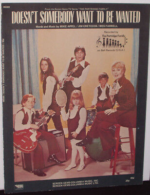 THE PARTRIDGE FAMILY sheet music (1971) DOESN'T SOMEBODY WANT TO BE WANTED