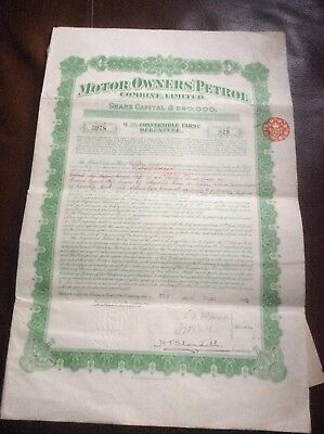 Motor Owners Petrol Combine Ltd.dated 1916 £20 Shares Invalid Share Certificate