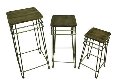 Set of 3 Square Vintage Look Silver Finish Metal and Wood Plant Stands