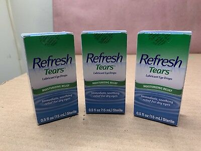 Refresh Tears Lubricant Eye Drops, 0.5 fl oz (15mL) Lot Of 3