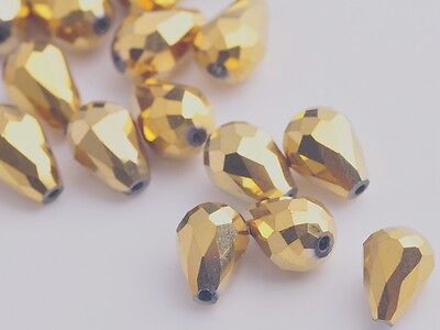 10pcs 18X12mm Teardrop Faceted Crystal Glass Loose Spacer Bead Gold Plated