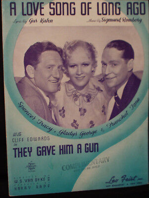 SPENCER TRACY & GLADYS GEORGE sheet music THEY GAVE HIM A GUN (1937)