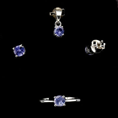 Round 4mm Top Rich Blue Violet Tanzanite 925 Sterling Silver Sets