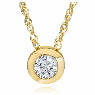 14K Yellow Gold 1/4ct TDW Eco-Friendly Lab Grown Diamond Bezel Solitaire Pendant