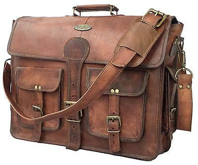 4d16651c5469 18 Inch Vintage Men s Brown Handmade Leather Briefcase Best Laptop  Messenger Bag