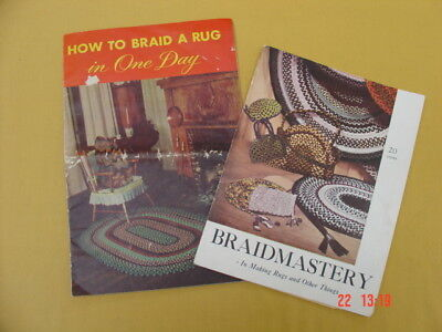 2 Vtg 1940s Braided Rug Instructions and Patterns ~ Braid a Rug in One Day