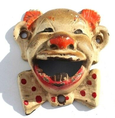 Vintage Clown Cast Iron Bottle Beer Opener Wall Mounted Garage Bar Man Cave