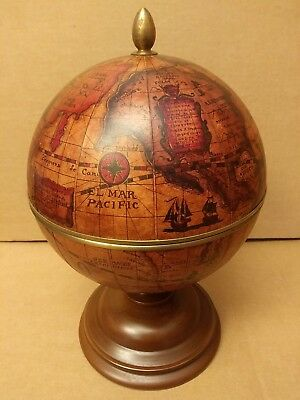 Vintage OLDE WORLD GLOBE wood ICE BUCKET (made In Italy)