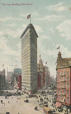 vintage postcard showing the Flat Iron Building, New York; postmarked circa 1909