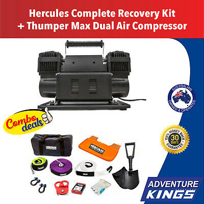 4WD Winch Recovery Kit + Dual Air Compressor Snatch Strap Recovery Kings
