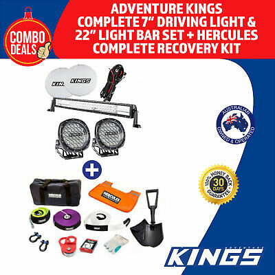 "Adventure Kings Complete 7"" Driving Light & 22"" Light Bar Set + Hercules Complet"