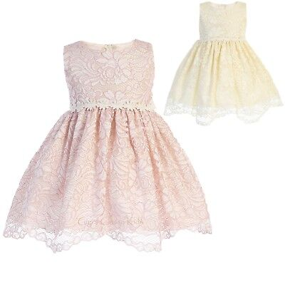 Flower Girls Lace Dress Floral Trim Wedding Easter Party Baby Kids Youth Toddler