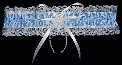 Wedding Garter Blue With Pearl Strand And A Rose