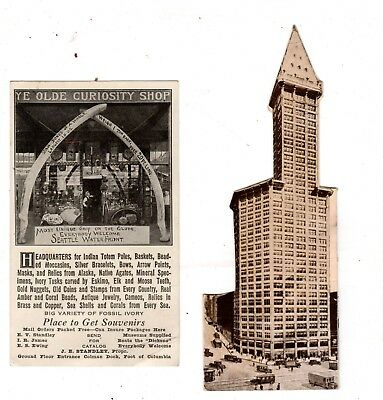 2 Vintage Antique Seattle WA Pieces 1914 Smith Tower & Curiosity Shop Waterfront