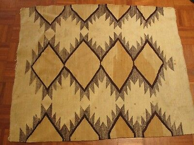 Antique Old Native American Indian Rug 46 Inches Geometric Folk Blanket Navajo