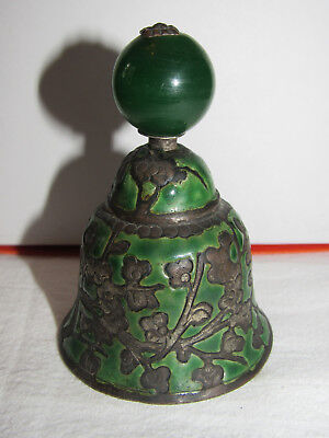 Antique Chinese Qing Dynasty Mandarin Hat Button Finial Bell Green Jade