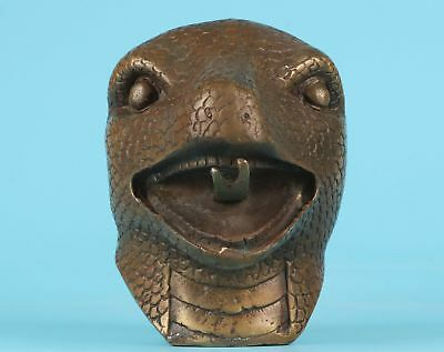 Rare China Bronze Hand-Carved Snake Head Statue Big Old Antique Collection