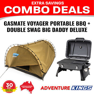 Gasmate Voyager Portable BBQ + Adventure Kings Double Swag Big Daddy Deluxe