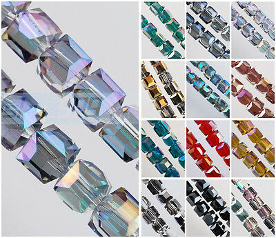 10pcs 10mm Cube Square Faceted Crystal Glass Loose Beads for Jewelry Making DIY