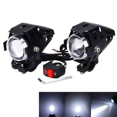 2X 12V 3000LM 125W U5 LED Motorcycle Twin Front Fog Spot Headlight Light Lamps