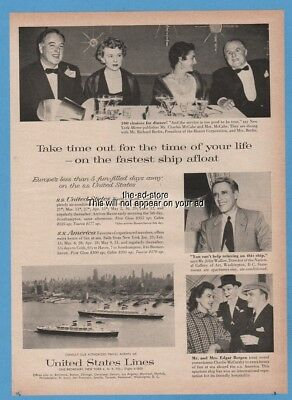 1958 SS United States America Cruise Lines Edgar Bergen Charlie McCarthy Ad