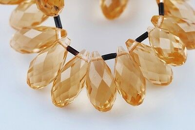 10pcs 20x10mm Teardrop Faceted Crystal Glass Loose Bead Pendants Amber Gold