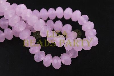 200pcs 4mm Faceted Rondelle Crystal Glass Loose Spacer Bead Jade Pink Crafts