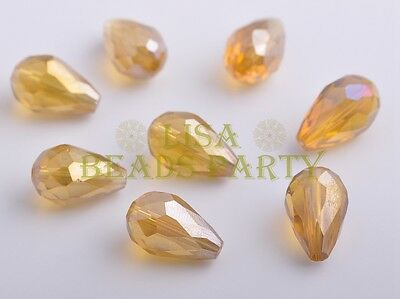 10pcs 15X10mm Teardrop Faceted Crystal Glass Loose Spacer Bead Amber Gold
