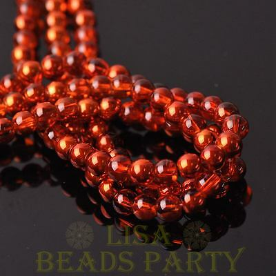 New 100pcs 6mm Round Glass Loose Spacer Bead Jewelry Making Orange Red