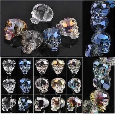 NEW Exquisite 3pcs 14X13mm Big Skull Head Faceted Crystal Glass Loose Bead Bulk