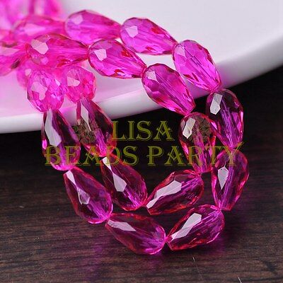 New 20pcs 16X10mm Faceted Teardrop Crystal Glass Spacer Loose Bead Rose