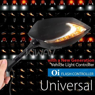 dual LED wing mirror Lucifer with 16 flashing tempos for 8mm custome motorcycle