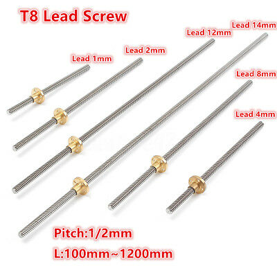 T8 lead screw Pitch 1/2mm Lead 1/2/4/8/12/14mm Rod Stainless With Brass Nut 1Set