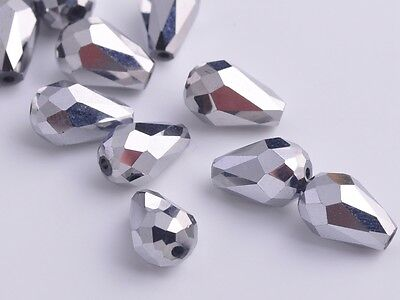 10pcs 12mm Teardrop Faceted Crystal Glass Charm Loose Spacer Bead Silver Plated
