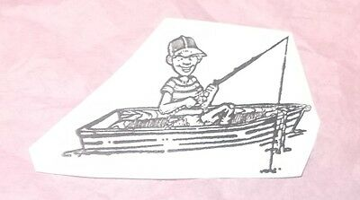 Fisherman rubber stamp boy man in boat fishing nature outdoors unmounted cushion