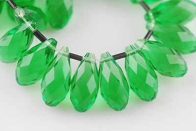 5pcs 20x10mm Teardrop Faceted Crystal Glass Loose Beads Pendant Grass Green