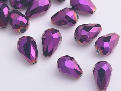 10pcs 12mm Teardrop Faceted Crystal Glass Charm Loose Spacer Bead Purple Plated