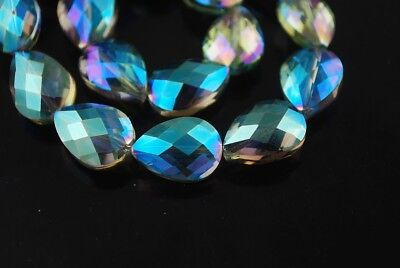 10pcs 18x13mm Teardrop Heart Faceted Crystal Glass Loose Bead Green Colorzied