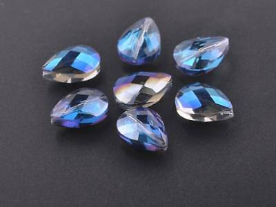 10pcs 18x13mm Teardrop Heart Faceted Crystal Glass Loose Bead Blue Colorized