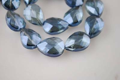 10pcs 18x13mm Teardrop Heart Faceted Crystal Glass Loose Bead Grayish Blue