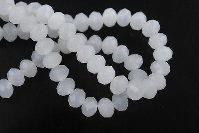 200pcs 3x4mm Faceted Rondelle Loose Spacer Crystal Glass Bead Jade White