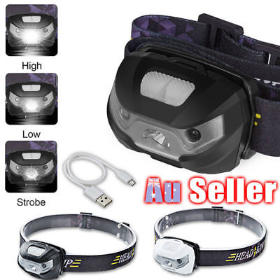 LED Head Lamp Headlight Headlamp CE Rechargeable Torch Induction Camping USB