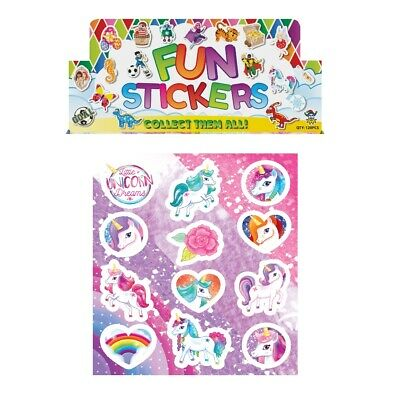 Sheets Of 12 Fun Unicorn Rainbows Stickers Crafting Fun Party Loot Bag Fillers