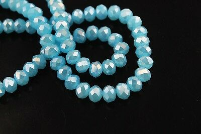 200pcs 3x4mm Faceted Rondelle Loose Spacer Crystal Glass Bead Jade Sky Blue AB