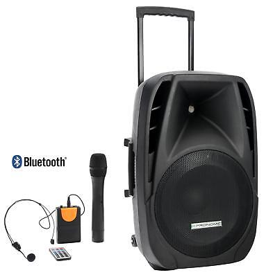 "Mobile Dj Pa Anlage 15"" Akku Lautsprecher Trolley Box Usb Sd Mp3 Bluetooth Mic"