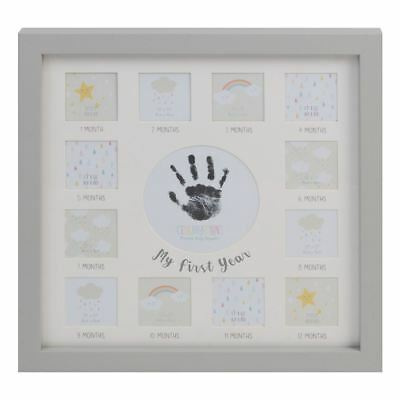 Baby Hand or Foot Print & My First Year Baby Photo Frame Grey with Ink Pad